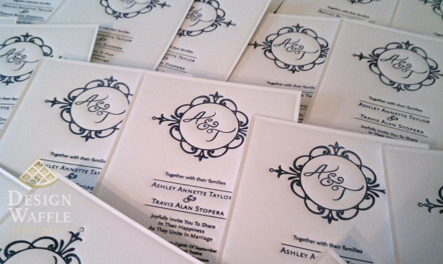 DIY letterpressed wedding invitations drying