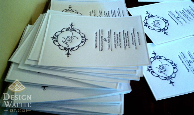 DIY letterpressed wedding invitations finished