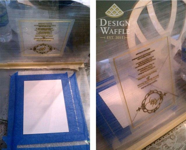 DIY letterpressed wedding invitation setup