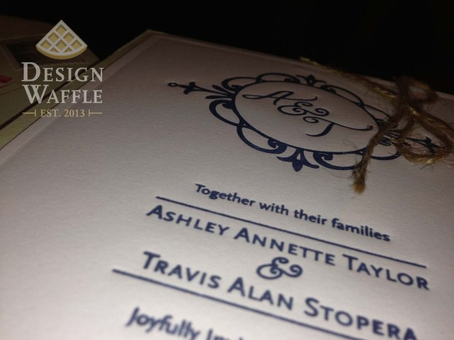 DIY letterpressed wedding invitation