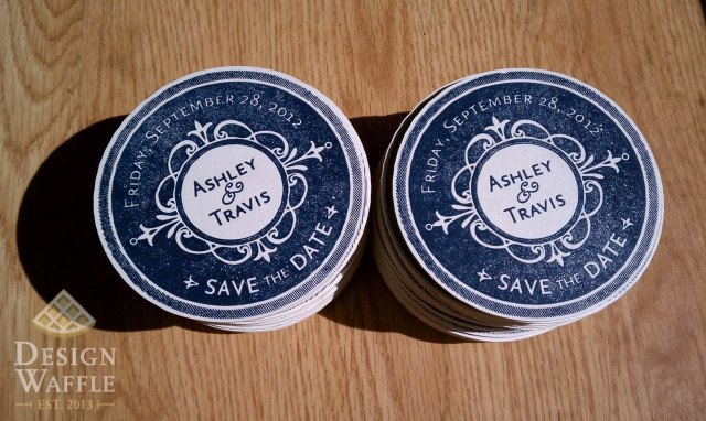 DIY Letterpressed Wedding Save-the-Date Coasters