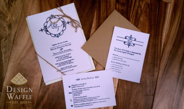 DIY letterpressed wedding invitation finished