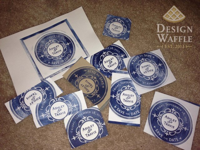 DIY letterpressed wedding invitation samples