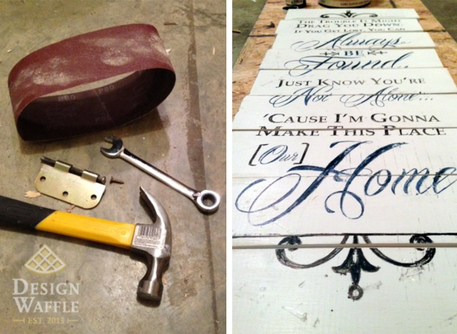 wooden sign image transfer distressing