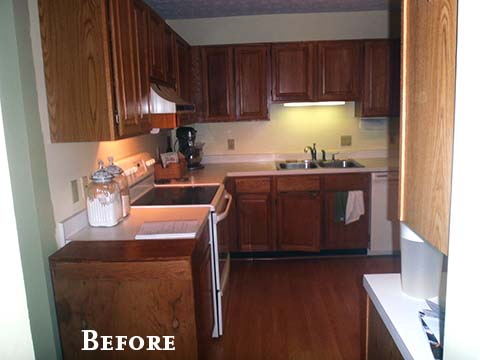 kitchen before oak cabinets