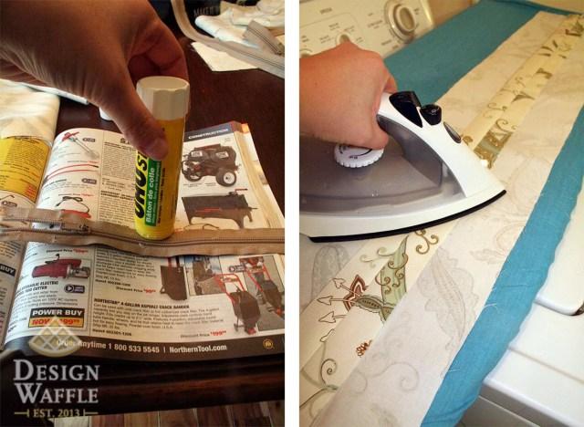 Sewing a zipper with glue stick