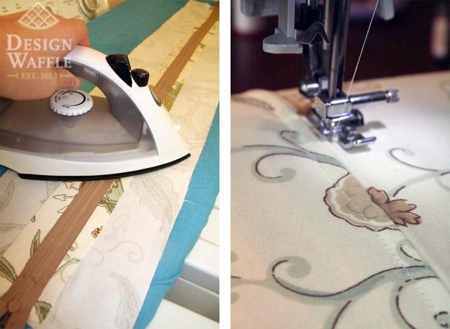 sewing a zipper with a glue stick
