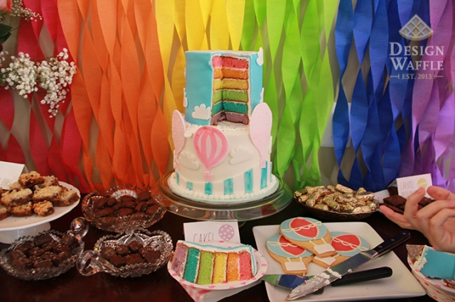 Rainbow themed baby shower